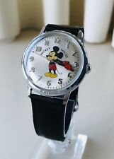 Rare, Vintage & Old 1969 Helbros Moon Crescent Animated Mickey Mouse Men's Watch