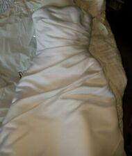 David's Bridal Satin A-line Wedding Dress Asymmetrical Skirt, Ruching White 2