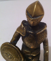 Vintage Bronze Medievil Gold Shining Knight on Marble Base, Heavy Duty, Quality