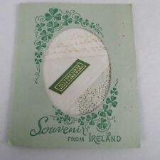 Vintage Linen Lace Handkerchief Souvenir From Ireland Hand Done Original Folder