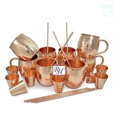Set of 8 Copper Moscow Mule Mug With Copper Shot Glass & Straw Set Gift Idea- M7