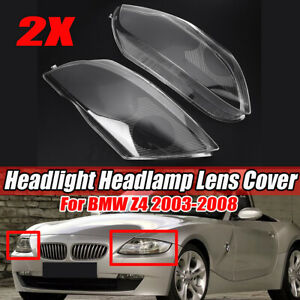For BMW Z4 2003-2008 Pair LEFT+RIGHT Headlight Headlamp Lens Replacement