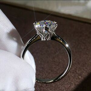 8*8mm Round Cut CZ 925 Silver Solitaire Wedding Engagement Ring for Women Girl