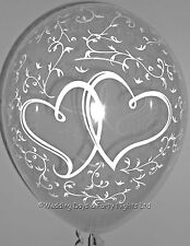 10 Clear Entwined Hearts Helium/Air Balloons Wedding Engagement Party Decoration