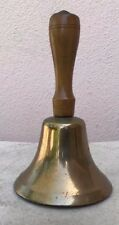 ANTIQUE OLD  BRASS SCHOOL BELL WITH WOODEN HANDLE 7""