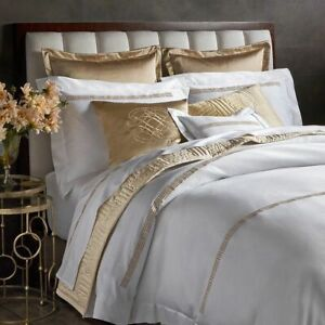 $1119 Pratesi Up Down Hotel QUEEN DUVET FLAT SHEET 2pc Set Gold Embroidery ITALY