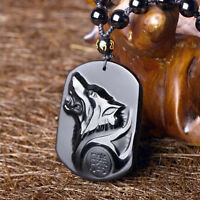 Black Obsidian Carving Wolf Head Pendant Necklace Blessing Luck Amulet Jewelry i