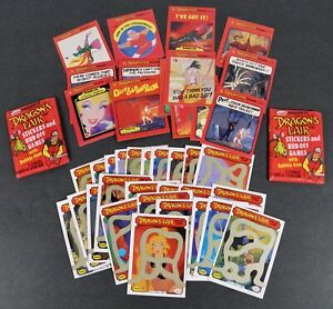 LOT OF FLEER DRAGON'S LAIR STICKERS GAME CARDS + 2 SEALED WAX PACKS (1984)