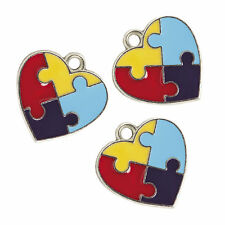36 Enamel AUTISM AWARENESS Puzzle Piece HEART CHARMS really nice FREE SHIP