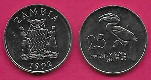 ZAMBIA 25 NGWEE 1992 UNC CROWNED HORN BILL,NATIONAL ARMS WITH SUPPORTERS,DATE BE