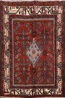Vintage Geometric Hamedan Hand-knotted Area Rug Traditional Oriental Carpet 4x5