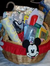 """Perfect Baby Gift ! """"Disney"""" Baby Micky Mouse Baby Gift Basket W Extras !"""