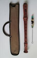 einfache Sopranblockflöte, Holz, 3-teilig, barocke Griffweise, Abnutzungsspuren