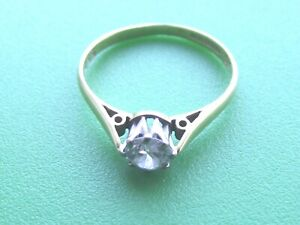 SUPERB 18CT GOLD DIAMOND SOLITAIRE RING SIZE L .39CT