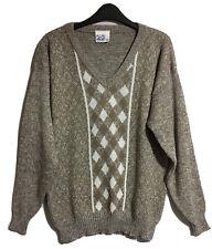 ZTC VINTAGE 1990s Men's M 40 P2P Jumper Sweater Knitwear Geometric Brown Fleck