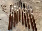 8 EKCO Eterna Stainless Dinner Knifes Flux Wood Handle Canoe Muffin MCM Japan