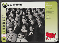 3-D 3D MOVIES 1950's Theatre History Photo 1995 GROLIER STORY OF AMERICA CARD