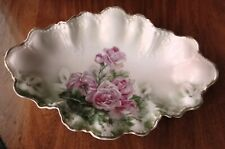 "C.T. Germany Hand Painted Large Porcelain Scalloped Oval Bowl -Antique 14"" Roses"