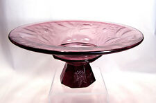 Large Amethyst Art Deco Compote w/ Striking Wheel Cut &  Engraved Florals c.1930