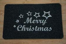 Indoor / Outdoor 60CM X 38CM Christmas Door Rug Mat Grey Sliver Xmas Door  Mat