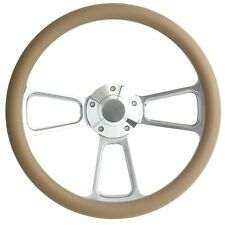 """SPECIAL BUY!! Billet and Tan 14"""" Steering Wheel - Chevy, Ford, Dodge"""