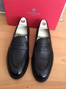 Grenson Lloyd  Black  Leather Penny Loafer Shoe Uk 9, RRP£265