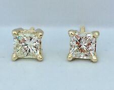 1.00 ct NATURAL princess cut DIAMOND stud earrings 14k yellow GOLD screwbacks