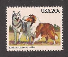 Dogs - Alaskan Malamute & Collie On A U.S. Postage Stamp