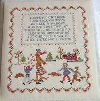 Completed Embroidery Sampler Children Grow Up approx. 14 1/2 x 13 1/2 Unframed