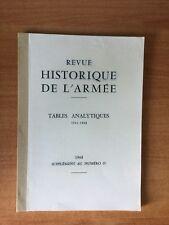 REVUE HISTORIQUE DE L'ARMEE tables analytiques 1941-1968 supplément au