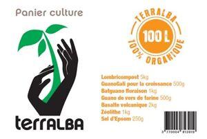 Panier culture JARDIN URBAIN 100L potager 10m² : amendements + engrais + mélasse