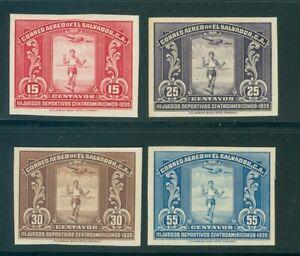 El Salvador 1935, 4 val. Runner, IMPERF PROOF, American Bank Note Co. #C36-9