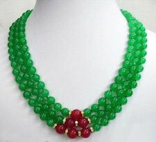 Yellow Gold Plated Crystal Clasp Necklace 3 Rows Emerald Green Jade Red Jade