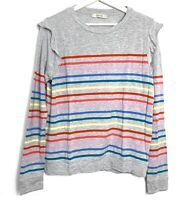 Ladies Oasis Striped Jumper Size S Grey UK Patches Winter Lightweight Sweater