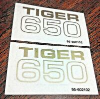 Tiger 650 side cover panel gold vinyl transfers 1969-70 Triumph Tiger TR6R ,pair