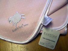 NWT KUSHIES Pink Reversible Cotton Knit SHEEP LAMB Receiving Blanket 30 x 35