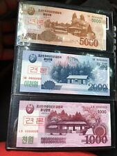 2008 ⬆�Korea banknote Specimen 1000, 2000, & 5000 Won Serial # 0000000 Gem Unc.