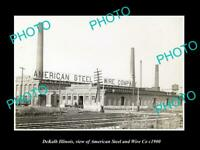 OLD POSTCARD SIZE PHOTO DEKALB ILLINOIS, THE AMERICAN STEEL & WIRE Co c1900