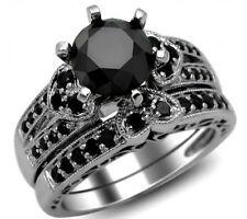 2.93Ct Round Cut Black Diamond Engagement 925 Sterling Silver Bridal Ring Set