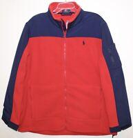 Polo Ralph Lauren Mens Red Blue Full-Zip Nylon Fleece Jacket NWT $198 Size M