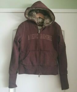 Girls Abercrombie & Fitch Faux Fur Lined Coat Hoodie Size L Dark Brown