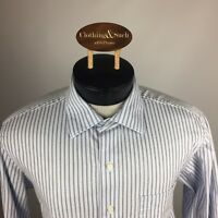 Tommy Bahama Mens Long Sleeve Dress Shirt Sz 16.5-34/35 Blue Stripe Cotton