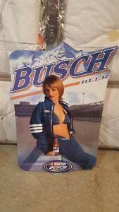 Busch Beer NASCAR Series Girl Bikini Metal Tin Tacker Bar Sign 2004 Super Rare