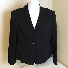 Evan Picone Petite Essentials Womens 3 Button Blazer Black Stretch 12P Free Ship
