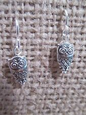 """Earrings silver tone owl charm about 1/2"""" long on silver tone french hooks"""