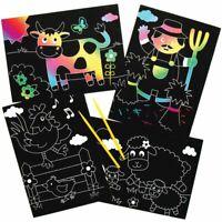 Scratch Art For Kids Rainbow Farm Animals Craft Kits Childrens Activity