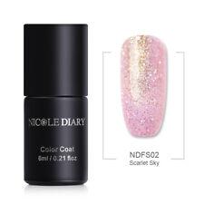 NICOLE DAIRY UV Gel Nail Polish Glitter Pearl Pink Soak Off Gel Varnish NDFS02