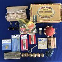 Cigar Box Full Of Sewing Vintage Supplies Buttons Tatting Pin Cushion Thimble +