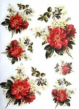 Rice Paper for Decoupage  - Flowers Bunch - Scrapbooking - Sheet Craft Vintage