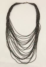 Native American handmade 20 strands liquid silver Heishi turquoise necklace